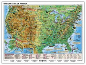 Fakty o USA/Basic Facts about USA mapa dwustronna